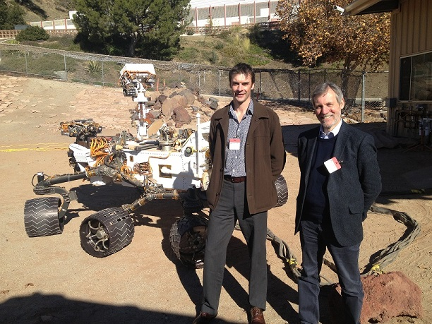 NASA's Jet Propulsion Labs' Mars Yard complete with Curiosity rover