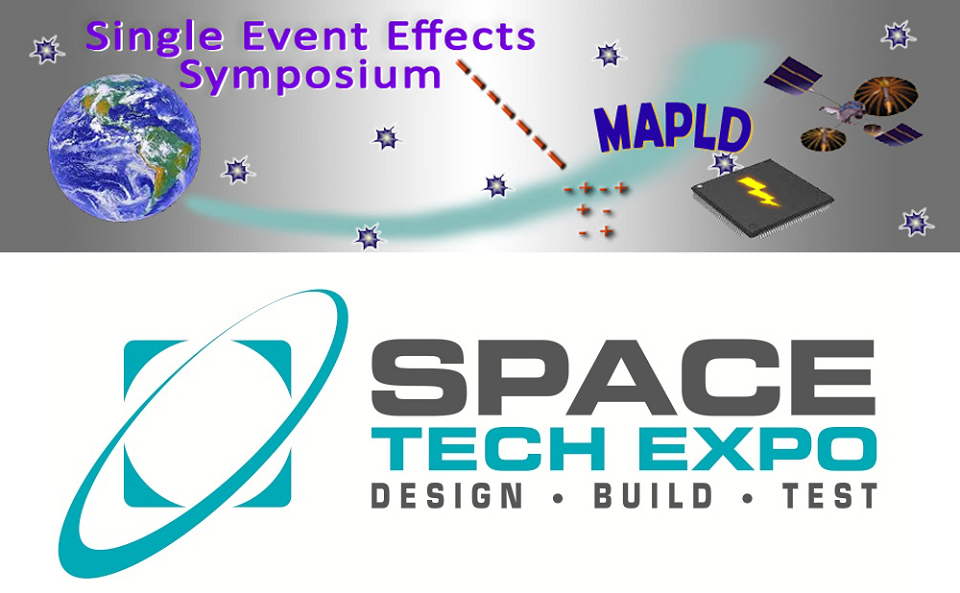 SEE/MAPLD and Space Tech Expo logos
