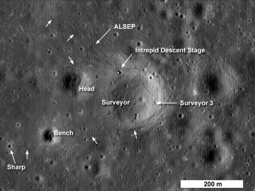 Image from LRO Showing Apollo 12 Landing Site