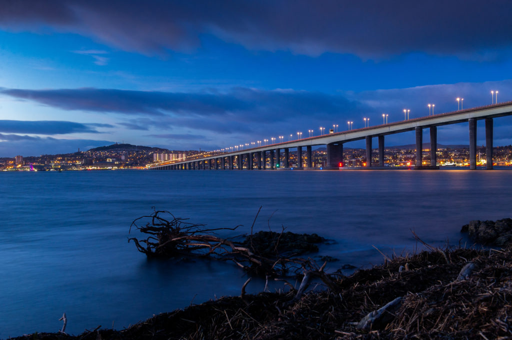 Dundee and the Tay Road Bridge at dusk