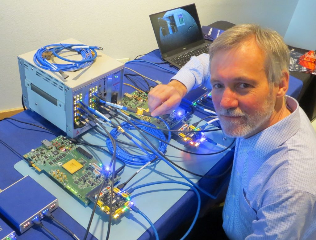 The first prototype SpaceFibre system being demonstrated by Steve Parkes in USA in 2017.